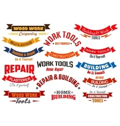 Repair construction carpentry icons set vector