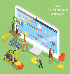 Reputation management flat isometric vector