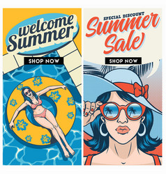 Retro summer sale brochure design set vector