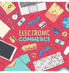 Se flat office online shopping e-commerce vector