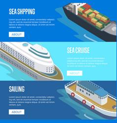 Sea shipping isometric horizontal flyers vector