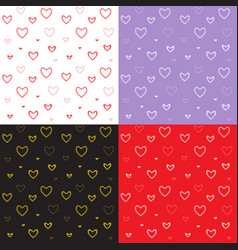 Seamless pattern with mosaic valentines hearts vector