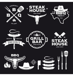 Set barbecue steak house grill bar labels vector
