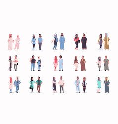 Set different arabic business couple standing vector
