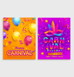 set flyers for happy carnival party vector image