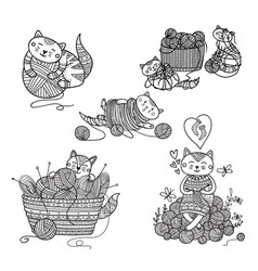 Set of cute cats playing with yarn ball coloring vector