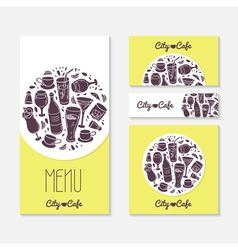 Set of identify cards templates with doodle drinks vector image