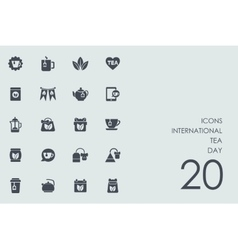 Set of International tea day icons vector image