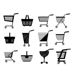 shopping carts silhouette or shop supermarket vector image