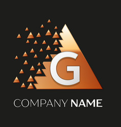 Silver letter g logo symbol in the triangle shape vector