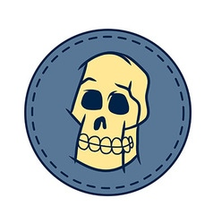 Skull And Circle Patch In Retro Color vector image