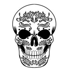 Skull head a day dead black candy vector