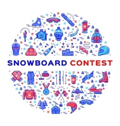 Snowboard competition Snowboarding contest vector