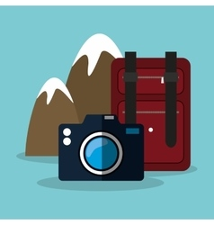 Snowy mountain baggage photo camera vector