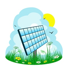 solar panel on the meadow vector image
