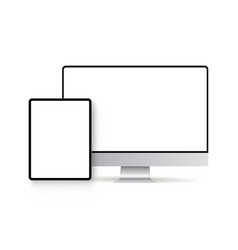 tablet computer and monitor with blank screens vector image