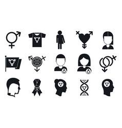 Transgender people icons set simple style vector