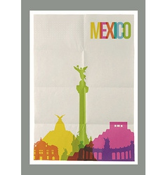 Travel Mexico landmarks skyline vintage poster vector