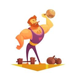 Traveling Circus Strongman Cartoon Retro Icon vector