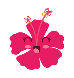Tropical flower decorative kawaii character vector