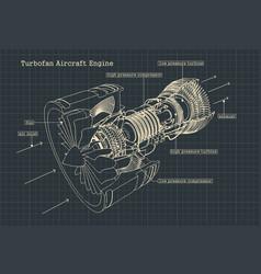 Turbofan engine drawings vector