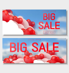 Valentine s day big sale offer banner template vector