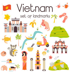 vietnam landmarks set architecture famous place vector image
