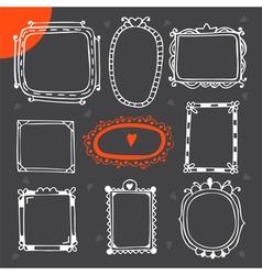Vintage photo frames Set of hand drawn design vector