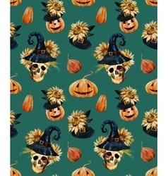 Watercolor halloween pattern vector