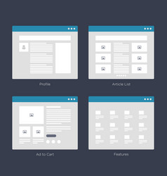 website wireframe layouts ui kits for site map vector image