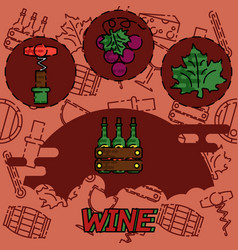 Wine flat concept icons vector