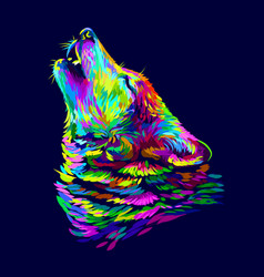 wolf howls abstract colorful neon portrait vector image