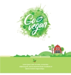 Words GO VEGAN in simple and cute frame with green vector image