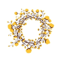 Yellow round frame flower vector
