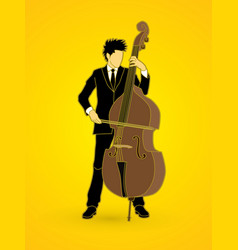 double bass player a man play double bass vector image