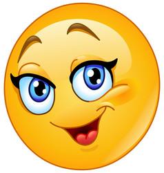 happy female emoticon vector image