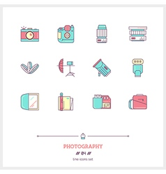 Photography Line Icons Set vector image