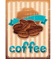 Poster with coffee beans in retro style vector image