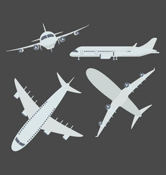 set of aircraft airplane vector image
