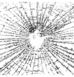 Broken glass grunge texture black white vector image