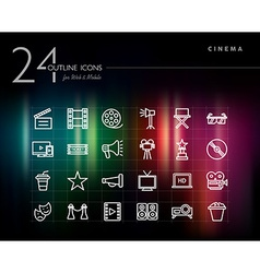 Cinema and movie outline icons set vector image
