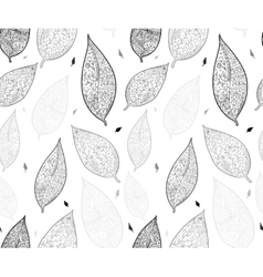 Doodle textured leaves Seamless pattern vector image vector image