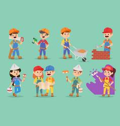 kids builders children boys and girls vector image vector image