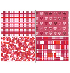 seamless patterns of hearts for valentine day vector image