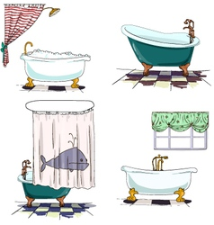 bathtubs cartoon style Bathroom interior element vector image vector image