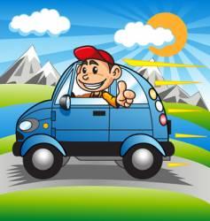 driving happy boy vector image