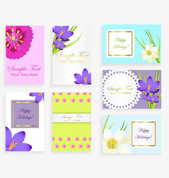 greeting colorful cards with flowers and text set vector image