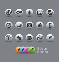 New Media Icons Pearly Series vector image vector image
