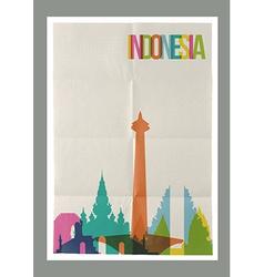Travel Indonesia landmarks skyline vintage poster vector image