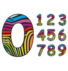 Background colored skin zebra shaped number vector image